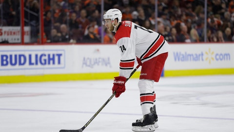 Carolina Hurricanes' Jaccob Slavin in action during an NHL hockey game against the Philadelphia Flyers, Sunday, March 19, 2017, in Philadelphia. (AP Photo/Matt Slocum)