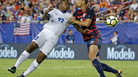 Martinique's Johnny Marajo (22) heads the ball past United States' Eric Lichaj (15) during a CONCACAF Gold Cup soccer match, Wednesday, July 12, 2017, in Tampa, Fla. United States won 3-2. (AP Photo/John Raoux)