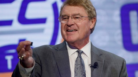 In this Wednesday, Oct. 26, 2016 file photo, ACC Commissioner John Swofford answers a question during the Atlantic Coast Conference NCAA college basketball media day in Charlotte, N.C. The Atlantic Coast Conference won big in football in 2016. So it's fitting the league starts its annual preseason media days by featuring reigning national champion Clemson and Heisman Trophy winner Lamar Jackson of Louisville. The league opens its two-day event in Charlotte on Thursday morning, July 13, 2017 beginning with a state-of-the-league forum from Commissioner John Swofford. (AP Photo/Bob Leverone, File)