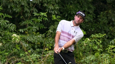 Bubba Watson chips up on to the 7th green during the John Deere Classic golf tournament Wednesday, July 12, 2017, in Silvis, Ill. (Todd Mizene /QCOnline.com via AP)
