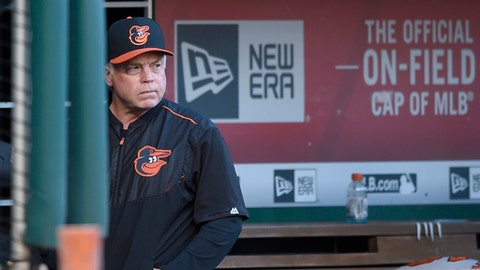 FILE - In this June 8, 2017, file photo, Baltimore Orioles manager Buck Showalter (26) looks on before an interleague baseball game against the Washington Nationals, in Washington. An array of injuries, poor pitching performances and lopsided defeats left the Baltimore Orioles with a losing record at the All-Star break. (AP Photo/Nick Wass, File)