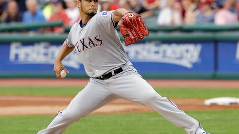 FILE - In this June 28, 2017, file photo, Texas Rangers starting pitcher Yu Darvish delivers in the first inning of a baseball game against the Cleveland Indians, in Cleveland. Yu Darvish could be going into his final stretch with the Rangers. The right-hander from Japan can become a free agent after this season. (AP Photo/Tony Dejak, File)