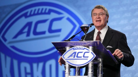 ACC Commissioner John Swofford speaks to the media during the Atlantic Coast Conference NCAA college football media day in Charlotte, N.C., Thursday, July 13, 2017. (AP Photo/Chuck Burton)