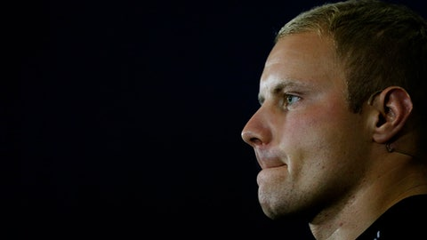 Mercedes driver Valtteri Bottas of Finland listens during a press conference ahead of the British Formula One Grand Prix at Silverstone circuit, Silverstone, England, Thursday, July 13, 2017. The Grand Prix will be held on Sunday. (AP Photo/Frank Augstein)