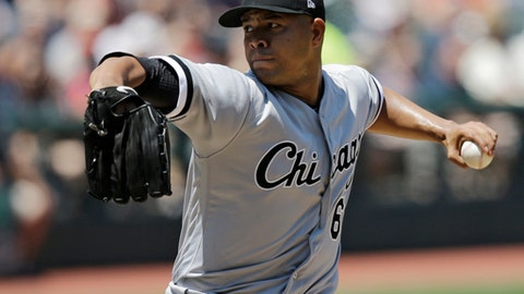 FILE - In this June 11, 2017, file photo, Chicago White Sox starting pitcher Jose Quintana delivers in the first inning of a baseball game against the Cleveland Indians, in Cleveland. The Chicago Cubs acquired left-handed pitcher José Quintana from the Chicago White Sox for outfielder Eloy Jimenez, right-handed pitcher Dylan Cease, and infielders Matt Rose and Bryant Flete, Thursday, July 13, 2017.(AP Photo/Tony Dejak, File)