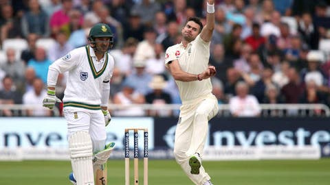 England's James Anderson bowls against South Africa  during day one of the second cricket Test match  between England and South Africa at Trent Bridge, Nottingham, England Friday July 14, 2017. (Nick Potts/PA via AP)