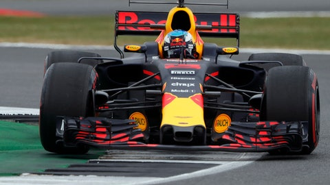 Red Bull driver Daniel Ricciardo of Australia steers his car during the second free practice at the British Formula One Grand Prix at the Silverstone racetrack, Silverstone, England, Friday, July 14, 2017. The British Formula One Grand Prix will be held on Sunday, July 16. (AP Photo/Frank Augstein)