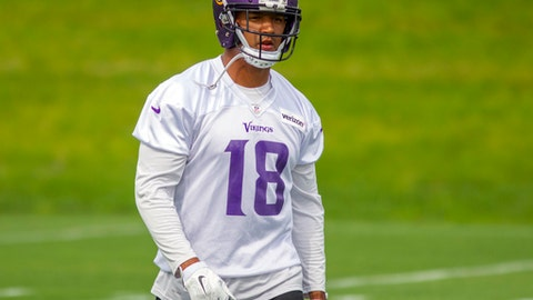Minnesota Vikings wide receiver Michael Floyd watches during NFL football practice Tuesday, June 13, 2017, in Eden Prairie, Minn.(AP Photo/Andy Clayton-King)