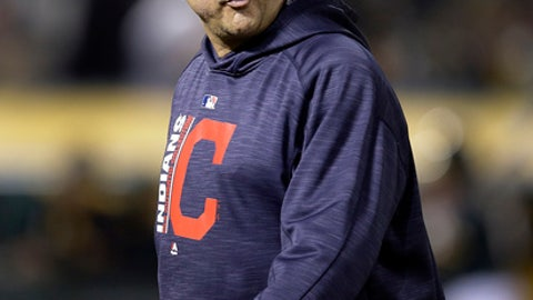 Cleveland Indians manager Terry Francona walks to the dugout during the seventh inning of the team's baseball game against the Oakland Athletics on Friday, July 14, 2017, in Oakland, Calif. (AP Photo/Ben Margot)