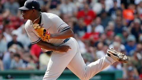 New York Yankees' Luis Severino pitches during the first inning of a baseball game against the Boston Red Sox in Boston, Saturday, July 15, 2017. (AP Photo/Michael Dwyer)