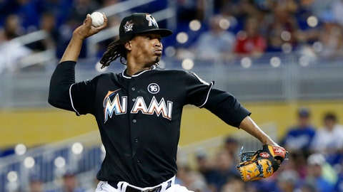Miami Marlins' Jose Urena delivers a pitch during the first inning of a baseball game against the Los Angeles Dodgers, Saturday, July 15, 2017, in Miami. (AP Photo/Wilfredo Lee)