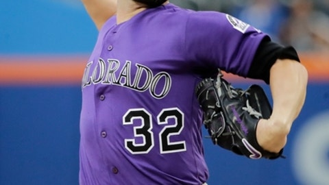 Colorado Rockies' Tyler Chatwood winds up during the first inning of the team's baseball game against the New York Mets on Saturday, July 15, 2017, in New York. Chatswood left the game during the first inning. (AP Photo/Frank Franklin II)