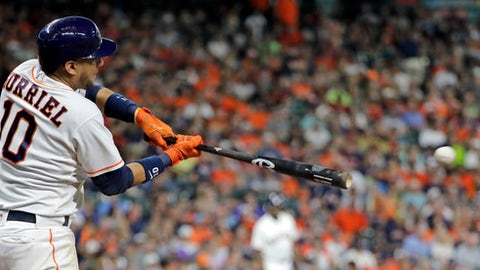 Houston Astros' Yuli Gurriel hits a single against the Minnesota Twins during the fourth inning of a baseball game Saturday, July 15, 2017, in Houston. (AP Photo/David J. Phillip)