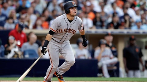 San Francisco Giants' Joe Panik watches his home run during the sixth inning of a baseball game against the San Diego Padres, Saturday, July 15, 2017, in San Diego. (AP Photo/Gregory Bull)