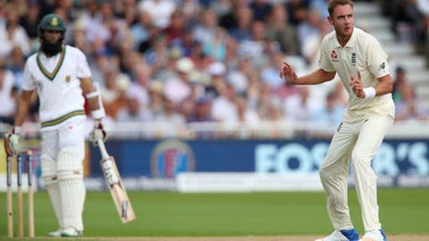 England's Stuart Broad looks back towards the Umpire during day three of the second test match against South Africa at Trent Bridge, Nottingham, England, Sunday, July 16, 2017. (Nick Potts/PA via AP)