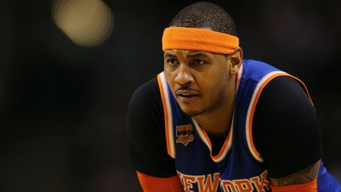 BOSTON, MA - JANUARY 18: Carmelo Anthony #7 of the New York Knicks looks on during the second half against the Boston Celtics  at TD Garden on January 18, 2017 in Boston, Massachusetts. The Knicks defeat the Celtics 117-106. NOTE TO USER: User expressly acknowledges and agrees that, by downloading and or using this Photograph, user is consenting to the terms and conditions of the Getty Images License Agreement. (Photo by Maddie Meyer/Getty Images)