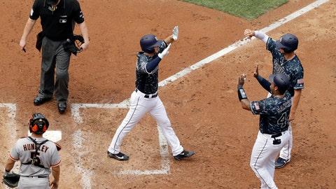San Diego Padres' Cory Spangenberg, center, greets teammates Hector Sanchez, right, and Wil Myers, second from right, after hitting a three-run home run during the third inning of a baseball game, Sunday, July 16, 2017, in San Diego. (AP Photo/Gregory Bull)