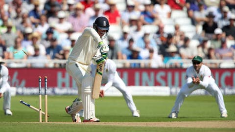 England's Keaton Jennings is bowled out by South Africa's Vernon Philander during day four of the Second Test cricket match at Trent Bridge, Nottingham, England, Monday July 17, 2017. (Nick Potts/PA via AP)