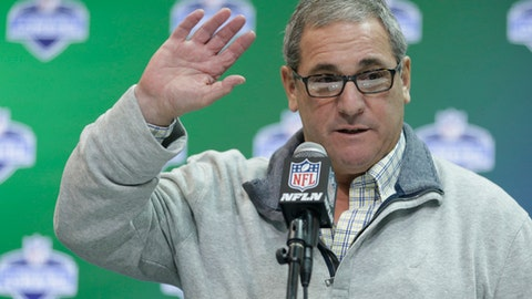 FILE - In this March 1, 2017, file photo, Carolina Panthers general manager Dave Gettleman speaks during a press conference at the NFL Combine in Indianapolis.  The Panthers have fired general manager Dave Gettleman less than two weeks before the opening of training camp. Team owner Jerry Richardson said Monday, July 17, 2017, in a statement he made the decision after a long evaluation of the team's football operations. (AP Photo/Michael Conroy, File)
