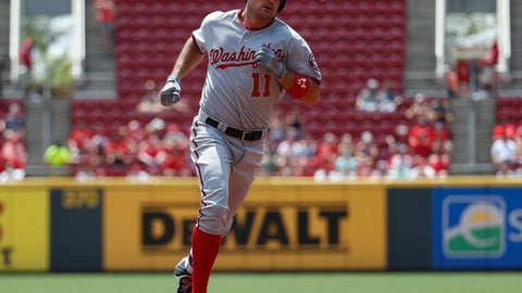Washington Nationals' Ryan Zimmerman runs the bases after hitting a solo home run off Cincinnati Reds starting pitcher Scott Feldman in the first inning of a baseball game, Monday, July 17, 2017, in Cincinnati. Zimmerman's became the Nationals' career home run leader with 235. (AP Photo/John Minchillo)