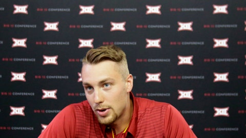 Iowa State linebacker and quarterback Joel Lanning speaks during the Big 12 NCAA college football media day in Frisco, Texas, Monday, July 17, 2017. (AP Photo/LM Otero)