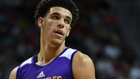LAS VEGAS, NV - JULY 16:  Lonzo Ball #2 of the Los Angeles Lakers stands on the court during a semifinal game of the 2017 Summer League against the Dallas Mavericks at the Thomas & Mack Center on July 16, 2017 in Las Vegas, Nevada. Los Angeles won 108-98. NOTE TO USER: User expressly acknowledges and agrees that, by downloading and or using this photograph, User is consenting to the terms and conditions of the Getty Images License Agreement.  (Photo by Ethan Miller/Getty Images)