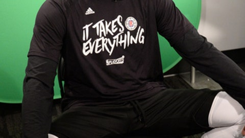 LOS ANGELES, CA - APRIL 30:  Paul Pierce #34 of the LA Clippers does an interview before Game Seven of the Western Conference Quarterfinals against the Utah Jazz during the 2017 NBA Playoffs on April 30, 2017 at STAPLES Center in Los Angeles, California. NOTE TO USER: User expressly acknowledges and agrees that, by downloading and/or using this photograph, user is consenting to the terms and conditions of the Getty Images License Agreement. Mandatory Copyright Notice: Copyright 2017 NBAE (Photo by Andrew D. Bernstein/NBAE via Getty Images)