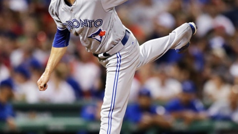 Toronto Blue Jays reliever Ryan Tepera watches a pitch to the Boston Red Sox during the eighth inning of a baseball game at Fenway Park in Boston, Monday, July 17, 2017.(AP Photo/Charles Krupa)