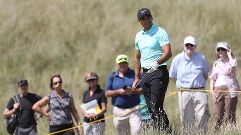 Australia's Jason Day prepares to play a shot on the 3rd hole during a practice round ahead of the British Open Golf Championship, at Royal Birkdale, Southport, England Tuesday, July 18, 2017. (AP Photo/Peter Morrison)
