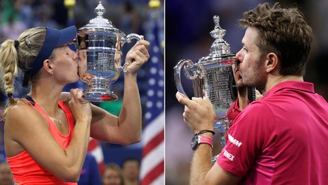 FILE - At left, in a Sept. 10, 2016, file photo, Angelique Kerber, of Germany, kisses the championship trophy after beating Karolina Pliskova, of the Czech Republic, to win the women's singles final of the U.S. Open tennis tournament, in New York. At right, in a Sept. 11, 2016, file photo,  Stan Wawrinka, of Switzerland, kisses the championship trophy after beating Novak Djokovic, of Serbia, to win the men's singles final of the U.S. Open tennis tournament, in New York. Total player compensation at the U.S. Open will top $50 million for the first time this year, with a record $3.7 million going to each of the singles champions. The U.S. Tennis Association announced Tuesday, July 18, 2017, that the total purse for the tournament will be $50.4 million, a nearly 9 percent increase from last year. The previous winners of the final Grand Slam tournament of the season — Wawrinka and Kerber — earned $3.5 million. (AP Photo/File) (AP Photo/File)
