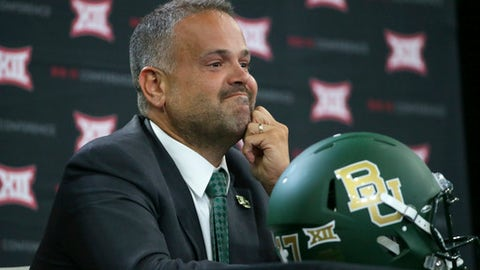 Baylor head coach Matt Rhule listens to a reporter's question during the Big 12 NCAA college football media day in Frisco, Texas, Tuesday, July 18, 2017. (AP Photo/LM Otero)