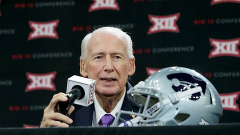 Kansas State head coach Bill Snyder speaks to reporters during the Big 12 NCAA college football media day in Frisco, Texas, Tuesday, July 18, 2017. (AP Photo/LM Otero)