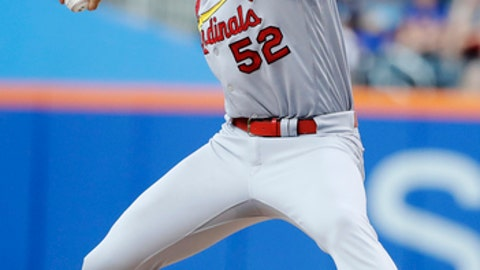 St. Louis Cardinals' Michael Wacha delivers a pitch during the first inning of the team's baseball game against the New York Mets on Tuesday, July 18, 2017, in New York. Wacha threw a three-hitter as the Cardinals won 5-0. (AP Photo/Frank Franklin II)