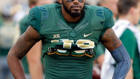 Baylor defensive back Travon Blanchard (48) walks along the sideline during an NCAA college football game against Kansas on Saturday, Oct. 15, 2016, in Waco, Texas. (AP Photo/Tony Gutierrez)