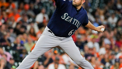 Seattle Mariners starting pitcher James Paxton delivers during the fifth inning of a baseball game against the Houston Astros, Wednesday, July 19, 2017, in Houston. (AP Photo/Eric Christian Smith)