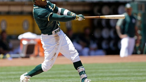 Oakland Athletics' Rajai Davis swings for an RBI ground rule double off Tampa Bay Rays' Jacob Faria in the fifth inning of a baseball game Wednesday, July 19, 2017, in Oakland, Calif. (AP Photo/Ben Margot)