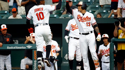 Baltimore Orioles' Adam Jones, left, celebrates his solo home run with teammate Manny Machado in the first inning of a baseball game against the Texas Rangers in Baltimore, Wednesday, July 19, 2017. (AP Photo/Patrick Semansky)