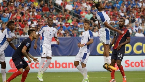 Panama's Anibal Godoy (20) scores an own goal during a CONCACAF Gold Cup quarterfinal soccer match against Costa Rica, in Philadelphia, Wednesday, July 19, 2017. (AP Photo/Matt Rourke)