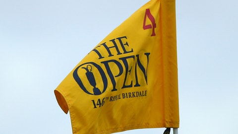 The flag on hole 4 on the first day of the British Open Golf Championship, at Royal Birkdale, Southport, England Thursday, July 20, 2017. (AP Photo/Dave Thompson)