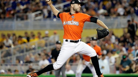 Miami Marlins relief pitcher David Phelps throws during a baseball game against the Pittsburgh Pirates, Sunday, April 30, 2017, in Miami. (AP Photo/Lynne Sladky)