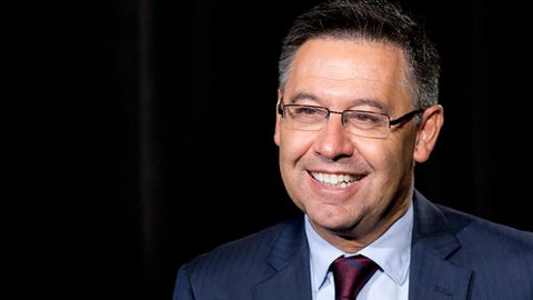 Josep Maria Bartomeu, president of FC Barcelona, discusses his soccer team, Thursday, July 20, 2017, in New York. (AP Photo/Mark Lennihan),