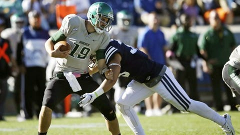 Wagner quarterback Alex Thomson (19) is sacked by BYU linebacker Va'a Niumatalolo (35) in the second half of an NCAA college football game Saturday, Oct. 24, 2015, in Provo, Utah. BYU won 70-6. (AP Photo/Rick Bowmer)
