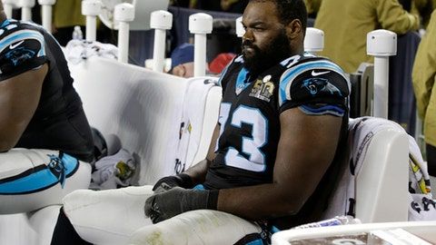 "FILE - In this Feb. 7, 2016, file photo, Carolina Panthers' Michael Oher watches from the bench during the second half of the NFL Super Bowl 50 football game in Santa Clara, Calif. The Panthers released the former starting left tackle — the subject of the movie ""The Blind Side"" — after he failed a physical on Thursday, July 20, 2017. The move comes six days before the Panthers are scheduled to report to training camp and 10 months since Oher last played. Oher started 16 regular games and three playoff games for the Panthers during their Super Bowl run in 2015. (AP Photo/Marcio Jose Sanchez, File)"
