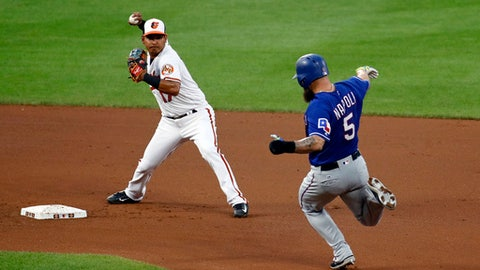 Baltimore Orioles shortstop Ruben Tejada, left, looks to throw to first after forcing out Texas Rangers' Mike Napoli at second base on Rougned Odor's ground ball during the fourth inning of a baseball game in Baltimore, Thursday, July 20, 2017. Odor was safe at first. (AP Photo/Patrick Semansky)