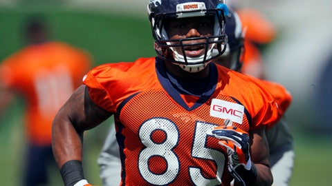 FILE - In this May 23, 2017, file photo, Denver Broncos tight end Virgil Green, a seventh-round pick in 2011 who is entering his seventh pro season, jogs during a drill at NFL football organized team activities at the NFL football team's headquarters in Englewood, Colo. When 10 years' worth of labor peace came to the NFL in 2011, so did a massive change in the rules governing practice, during the season, the offseason and, most especially, in training camps.  (AP Photo/David Zalubowski, File)