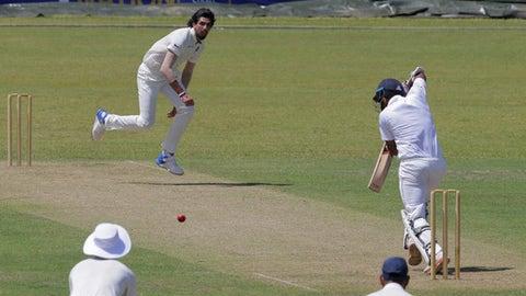 India's Ishant Sharma delivers a ball to Sri Lanka's Board XI batsman Lahiru Thirimanne during a warm up game in Colombo, Sri Lanka, Friday, July 21, 2017. (AP Photo/Eranga Jayawardena)