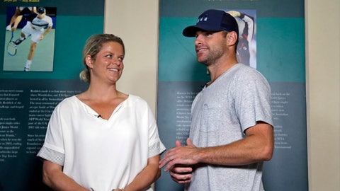 Tennis stars Kim Clijsters of Belgium and Andy Roddick of the USA chat before an interview at the International Hall of Fame Tennis Museum, Friday, July 21, 2017, in Newport, R.I. They will be inducted into the Hall of Fame during enshrinement ceremonies on Saturday. (AP Photo/Elise Amendola)