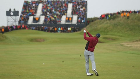 Jordan Spieth of the United States plays a shot on the 6th hole during the second round of the British Open Golf Championship, at Royal Birkdale, Southport, England, Friday July 21, 2017. (AP Photo/Peter Morrison)