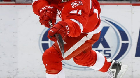 Detroit Red Wings left wing Tomas Tatar (21) skates against the Chicago Blackhawks in the second period of an NHL hockey game Friday, March 10, 2017, in Detroit. (AP Photo/Paul Sancya)