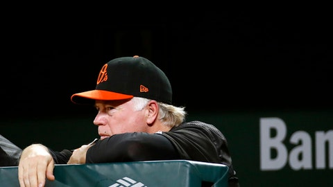 Baltimore Orioles manager Buck Showalter stands in the dugout in the eighth inning of a baseball game against the Houston Astros in Baltimore, Friday, July 21, 2017. (AP Photo/Patrick Semansky)